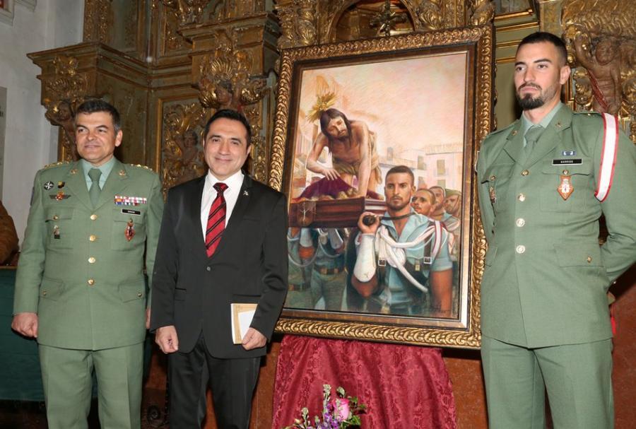 Málaga Málaga El pintor Antonio Montiel rinde homenaje a la legión en el cartel de la Semana Santa de Antequera 2018